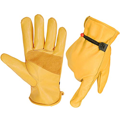 Mens Flex Grip Leather Working Gloves, Women Leather Glove with Adjustable Wrist for Gardening Logging/Wood Cutting/Forest Work/Driving(Gold, L)