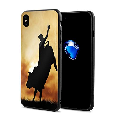 (Phone Case Cover for iPhone X XS,Bull Rider Silhouette at Sunset Dramatic Sky Rural Countryside Landscape Rodeo,Compatible with iPhone X/XS 5.8)