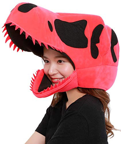 Clever Idiots Animal Head Mask - Costume for Halloween Parties, Pep Rallies and Cosplay - One-Size-Fits-Most, Great for Adults, Teens and Kids - Lightweight and Comfortable - Dinosaur Red ()