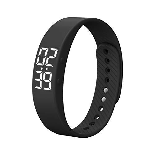 Smart Sports Bracelet Bangle Watch led Waterproof Pedometer Vibrating Alarm Clock Student Girl Child Watch Electronic Pedometer Lasting Life 3 (Black