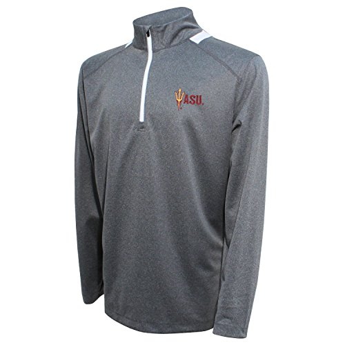 Crable NCAA Men's Quarter Zip with Team Neck Panel,Arizona State Sun Devils,Heather Gray/Maroon,Large (Arkansas University State Golf)