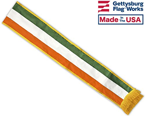 7′ St. Patrick's Day Irish Tri-color Parade Sash, Sewn Nylon, Made in USA by Gettysburg Flag Works For Sale
