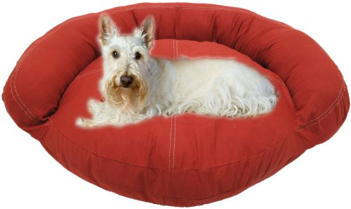 Luxury Dog Donut Bed (CPC Barn Twill Saddle Stitch Bolster Bed for Dogs and Cats, Small, Red)