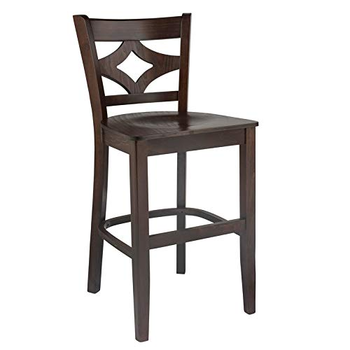 Beechwood Mountain Curtain Back Counter Stool with Wood seat Walnut