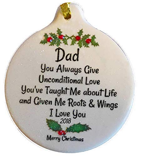 Dad Unconditional Love 2018 Porcelain Ornament Gift Boxed Thank You -