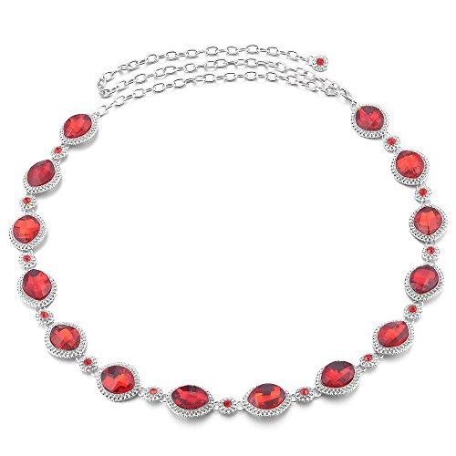 Jili Online Women Ladies Bling Metal Chain Hip Waist Belt Rhinestone Circle for Party Dress Accessories - Red, 110cm