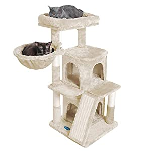 Hey-bro Multi-Level Cat Tree Condo Furniture with Sisal-Covered Scratching Posts for Kittens, Cats and Pets (Beige)