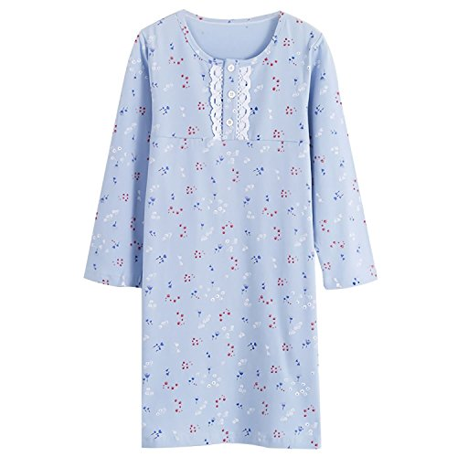 Baby Girls' Princess Nightgowns Flower Sleep Shirts Cotton Gowns Long Sleeve Blue for Kids Blue Floral & Lace 3-4 Years Floral Lace Nightgown