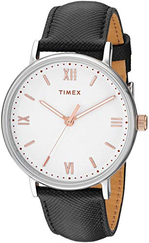Timex Men's TW2T34700 Southview 41mm Black/White/Rose Gold Leather Strap Watch (Rose Gold Strap Watch)