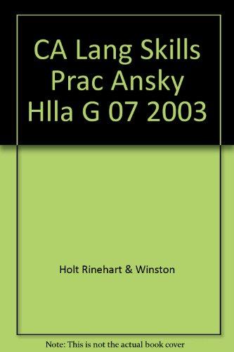 Answer Key; Language & Sentence Skills Practice (Holt Handbook; First Course) (Holt Literature & Language Arts)