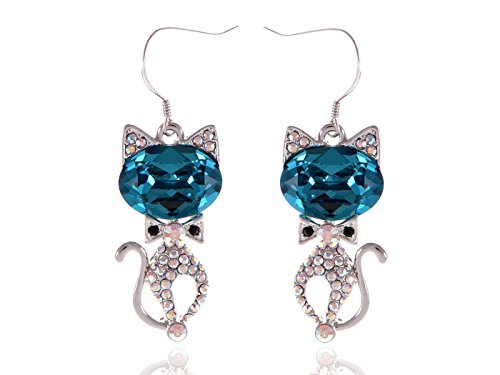 Alilang Swarovski Element Silver Tone Aurora Borealis Colored Rhinestones Kitty Cat Fish Hook Earrings (Kitty Sex Outfit)