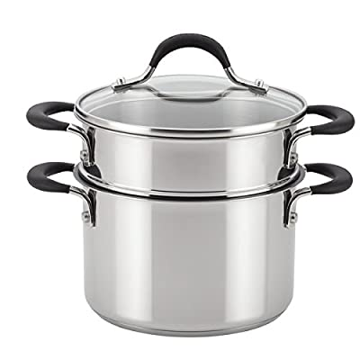 Circulon Momentum Stainless Steel Nonstick Covered Straining Saucepot with Steamer Insert, 3-Quart