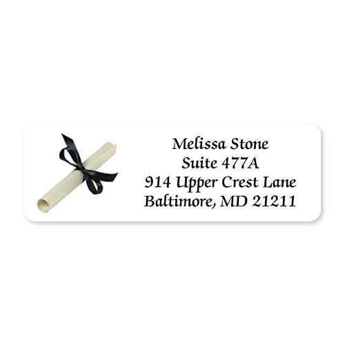 lized Designer Rolled Address Labels - 250 Labels per Roll - 2 1/2 Inches Long x 3/4 Inch High - Elegant Plastic Dispenser Included (Grad Address Label)