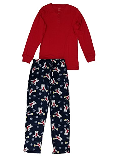 Long Sleeve Polar Fleece Top - Northcrest Mens Red Henley Shirt & Navy Polar Bear Beer Fleece Sleep Pants Pajama Set