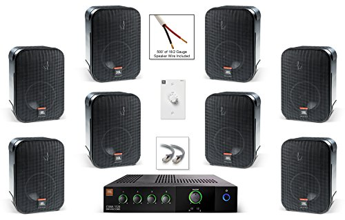 2 Way Compact Shielded Speakers (JBL CSS-1S/T Compact Two-Way Surface-Mount Loudspeaker Bundle with JBL CSMA1120 120 Watt Mixer Amplifier and Accessories - Restaurant Sound System (8 Speakers, Black))