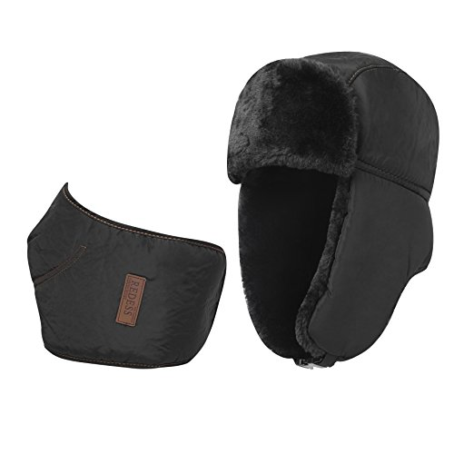 REDESS Winter Trooper Trapper Ushanka Hat, 2 in 1 Russian Hat and Ski Windproof Mask Neck Warmer, Thick Faux Fur Fleece Lined Hunting Snow Black Hat with Ear Flap ()