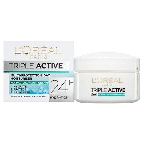 L'Oréal Paris Dermo-Expertise Triple Active Day Multi-Protection Moisturiser - Normal & Combination Skin (50ml) (Best Day Moisturiser For Combination Skin)