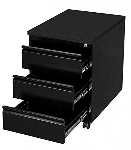 Rollcontainer metall schwarz  Profi Stahl Büro Rollcontainer Bürocontainer schwarz 505306 Maße ...