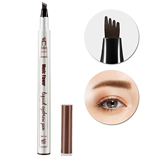AsaVea Tattoo Eyebrow Pen Waterproof Ink Gel Tint with Four Tips, Long Lasting Smudge-Proof Natural Hair-Like Defined Brows All Day (Brown)