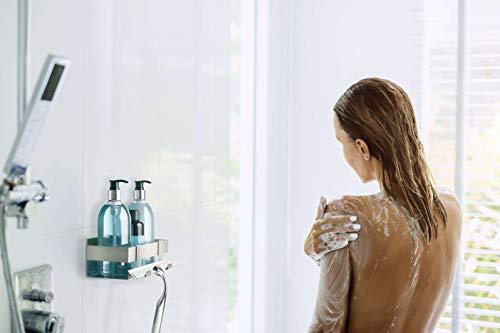 LIEBHEIM Duschablage Duschkorb Badregal rostfreier Edelstahl gebürstet ohne Bohren mit zwei Klebevarianten garantiert…
