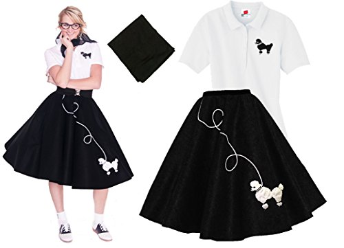 Homemade 50s Costumes (Hip Hop 50s Shop Adult 3 Piece Poodle Skirt Costume Set Black and White XXLarge)