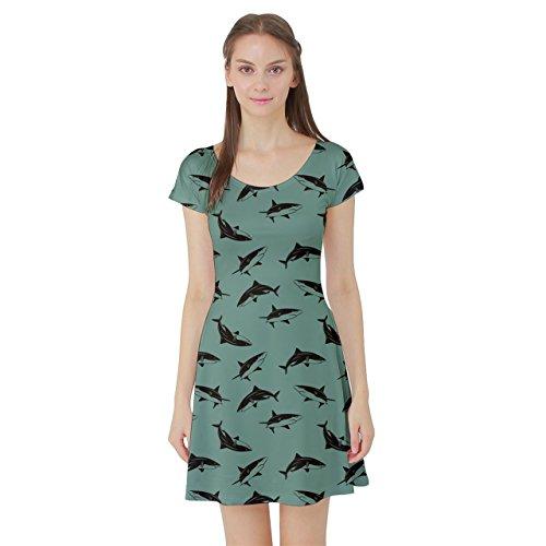 Skater Sleeve Turquoise Pattern Short Sharks Dress 7qnA1FBwnx