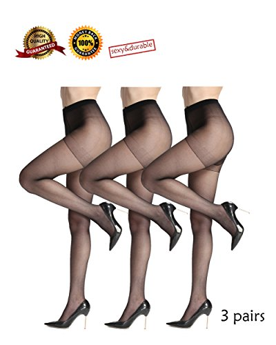 Comfortable and Durable Pantyhose for Women Sheer Tights 3 Pairs High Elastic and Diy Cutting Stockings (M, black)