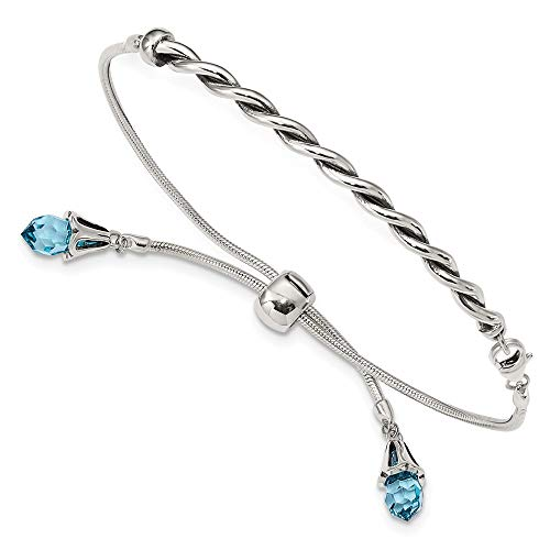 (925 Sterling Silver Reflections Blue Swarovski Crystal Adjustable Bracelet 9 Inch Stretch Wrap Fine Jewelry Gifts For Women For Her )