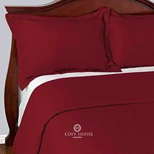 Best Duvet Covers Sets 3 Piece - 100% Microfiber - Most Durable Non-Rip Comforter Covers - Wrinkle-Free and Stain Resistant - Hypoallergenic Bedding Cover by Cosy House (Queen/Full, Burgundy)