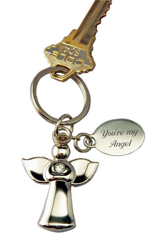 Personalized Guardian Angel Keychain Engraved ()