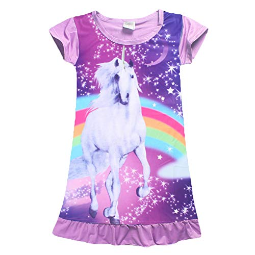 YIJODM Comfy Girls Unicorn Printed Rainbow Princess Casual Dress Nightgown Nightie for Toddler]()