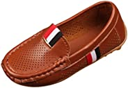 Voberry@ Boy's Girl's Soft Synthetic Leather Loafers Slip On Boat Dress Shoes/Sneakers/Fl