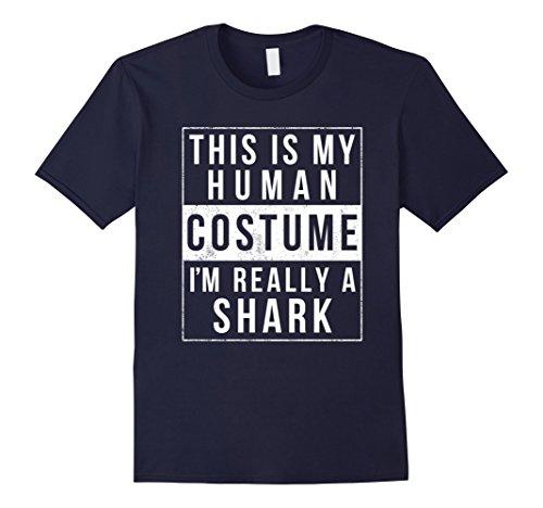 [Mens Shark Halloween Costume Shirt Funny Easy for Kids Men Women Medium Navy] (Nurse Shark Costume)
