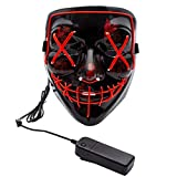 Apipi Halloween LED Light up Mask-Frightening EL Wire Cosplay Mask for Festival Parties (Red)