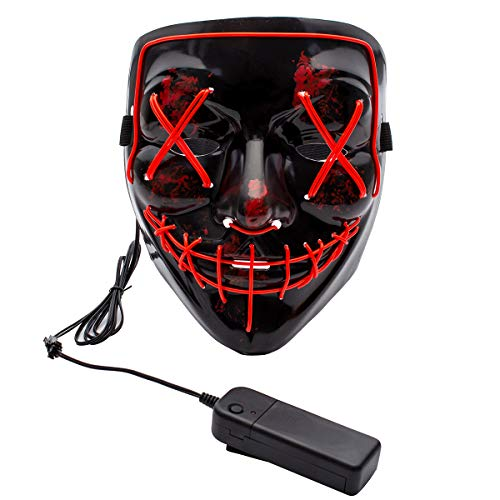 Apipi Halloween LED Light up Mask-Frightening EL Wire Cosplay Mask for Festival Parties (Red)]()