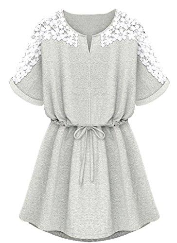 Dresses Short Fashion Comfy Grey Short Round Women's Sleeve Neck fRqg0Z