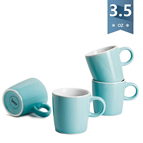 Sweese 409.102 Porcelain Espresso Cups - 3.5 Ounce - Set of 4, Turquoise