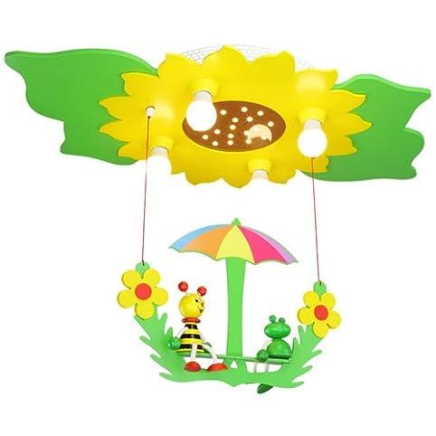 Elobra Deckenleuchte Blume-Blätter mit Schaukel 'Biene und Frosch' - grün - gelb 128473
