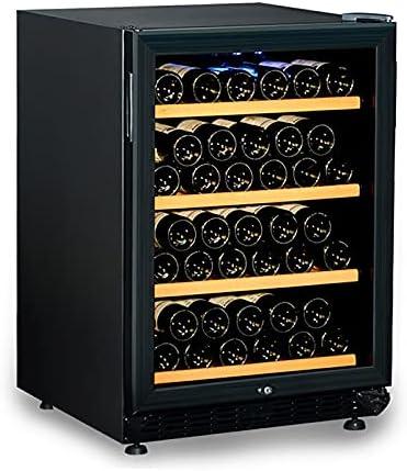 VIY Nevera para vinos Nevera para Bebidas 154 litros 4 estantes de Madera Control táctil Iluminación Interior LED One Zonas Negro