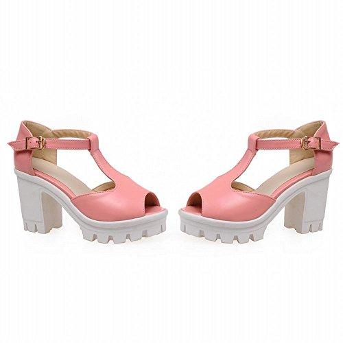 Carol Scarpe Moda Donna Fibbia T-strap Charms Peep-toe Piattaforma Di Eleganza Sandali Tacco Alto Grosso Rosa