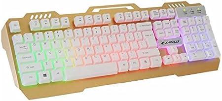 Kingwin - Teclado Luminoso (USB, con Cable mecánico), Color Dorado y Blanco