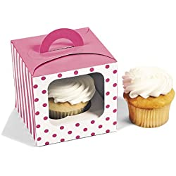 1 X Candy Pink Polka Dot Cupcake Boxes (12 pc)