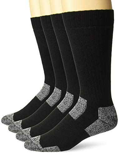 Carolina Acrylic - Carolina Ultimate Men's Steel Toe Boot Cushion Work Crew Socks 4 Pair Pack, black, X-Large