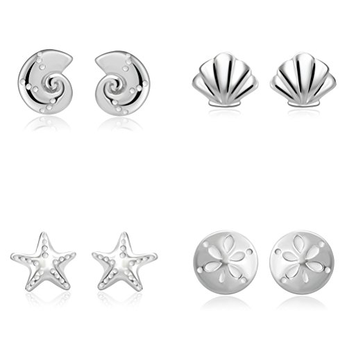 YAN & LEI Sterling Silver Sea Star, Scallop, Sand Dollar and Conch Stud Earrings 4 Pairs Set in Silver