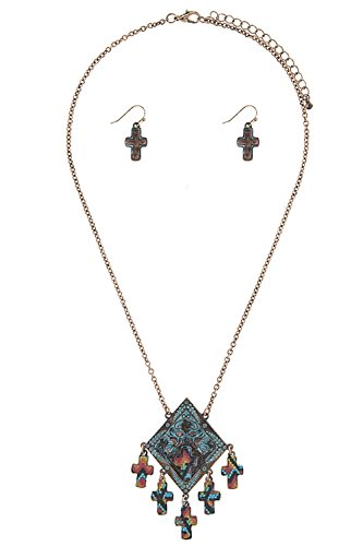 [TRENDY FASHION JEWELRY CROSS PATTERN ETCHED BIRD PENDANT NECKLACE SET BY FASHION DESTINATION | (Antique] (Lobster Claw Costume Pattern)