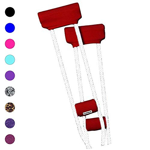 (Crutcheze Premium USA Made Crutch Pad and Hand Grip Covers | Comfortable Underarm Padding Washable Breathable Moisture Wicking Anti-Bacterial Orthopedic Products Accessories (Red))