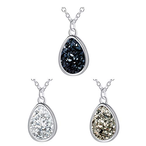 "Small Teardrop Necklace - MissNity Women Teardrop Druzy Necklace Silver Plating Boho Jewelry with Black Gray White Gemstone for Sisters, 18"" (A001-Black/white/gray)"