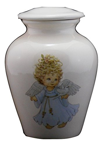 Angel with Dove Urn- Cremation Urn or Keepsake for Ashes - Hand Made Pottery (Small 57 Cubic Inches 6 1/2