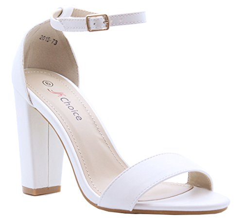 SAUTE STYLES Ladies Womens High Block Heel Ankle Strappy Party Sandals Shoes Size 3-8 White cVW5t