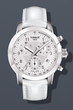 Tissot Women's 'PRC 200' Swiss Quartz Stainless Steel and Leather Casual Watch, Color:White (Model: T0552171603200)